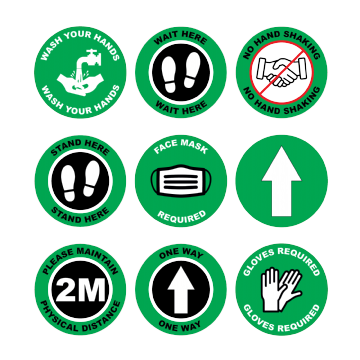 Green Social Distancing Floor Marking Anti slip Laminated Stickers - 150/300mm - Pack of 10